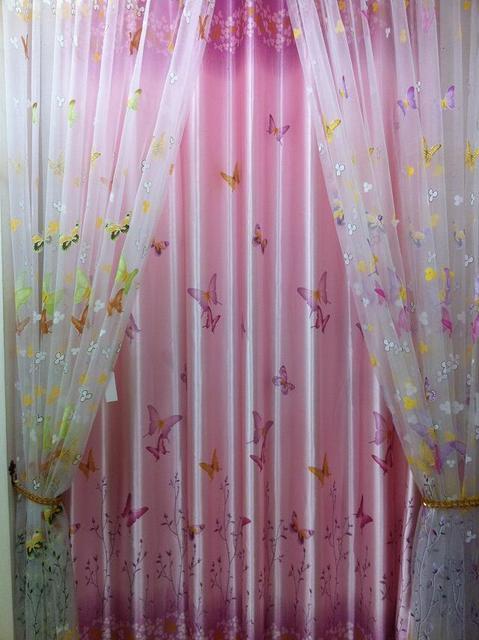Gros papillon Fleurs broderie tulle feuille rideaux rideaux ...
