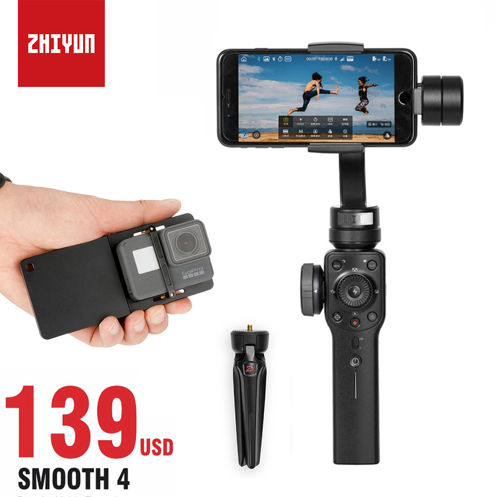Zhiyun Smooth 4 Smartphone Gimbal Stabilizer for iPhone Samsung s8, Handheld 3 Axis Gimbal for Gopro 5 6 4 VS Smooth Q DJI osmo mefoto a0320q00 aluminum alloy mini camera tripod portable desktop tripod stand support steady hold camera with tripod head