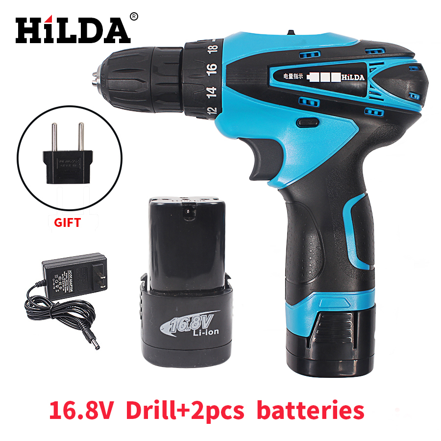 HILDA 16.8V Cordless Screwdriver 2pcs Lithium Battery Two-Speed Rechargeable Waterproof Hand LED Light Electric Drill 25v cordless drill electric two speed rechargeable 2pcs lithium battery waterproof drill led light
