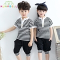 Children School Clothes Girls Boys School Uniforms Sets Cotton Sportsuit Stripe T-shirt +Half Pants Boys Performing Suits L203