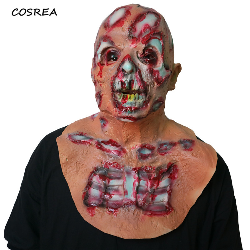 Halloween Adult Zombie Masks Latex Bloody Scary Extremely Disgusting Full Face Helmet Cosplay Costumes Party Accessories Props