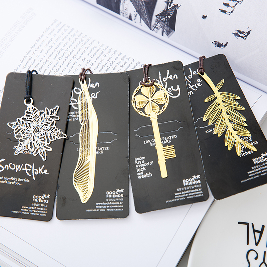 1PC Feather Snowflake Bookmarks Creative Classical Exquisite Mini Metal Art Pattern Bookmark Children's Gifts Office Stationery