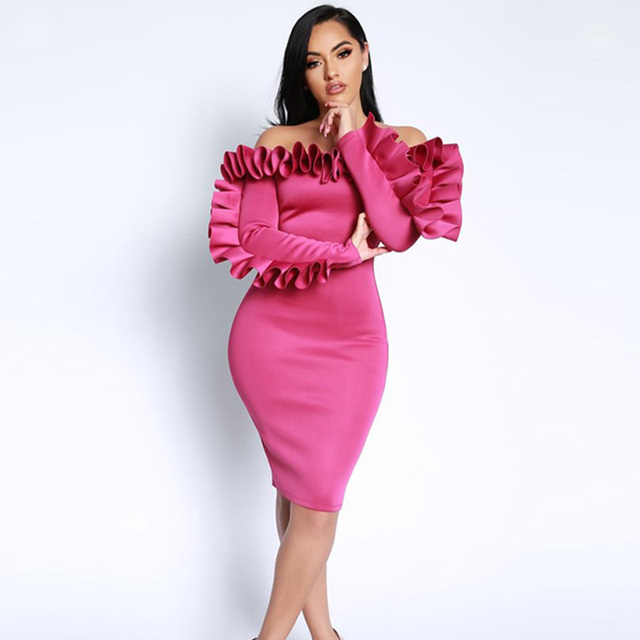 Street Fashion Off Shoulder Ruffles Party Dress Female Sexy Rose Long Sleeves Wrapped Club Bodycon Dress Vestidos Ropa Mujer XXL