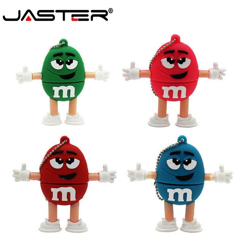 JASTER USB 2.0 M&m's Chocolate Pendrive 4gb 8gb Cute M Bean Memory Stick 16gb 32gb Usb Flash Drive 64gb  Pen Drive U Disk