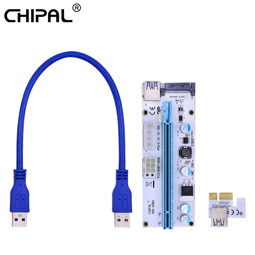 Chipal 10pcs Ver008s 0.3m Pci-e Riser Card 008s Pcie 1x To 16x Extender With Led 6pin Sata Molex 4pin Power For Bitcoin Mining Excellent In Cushion Effect Computer & Office