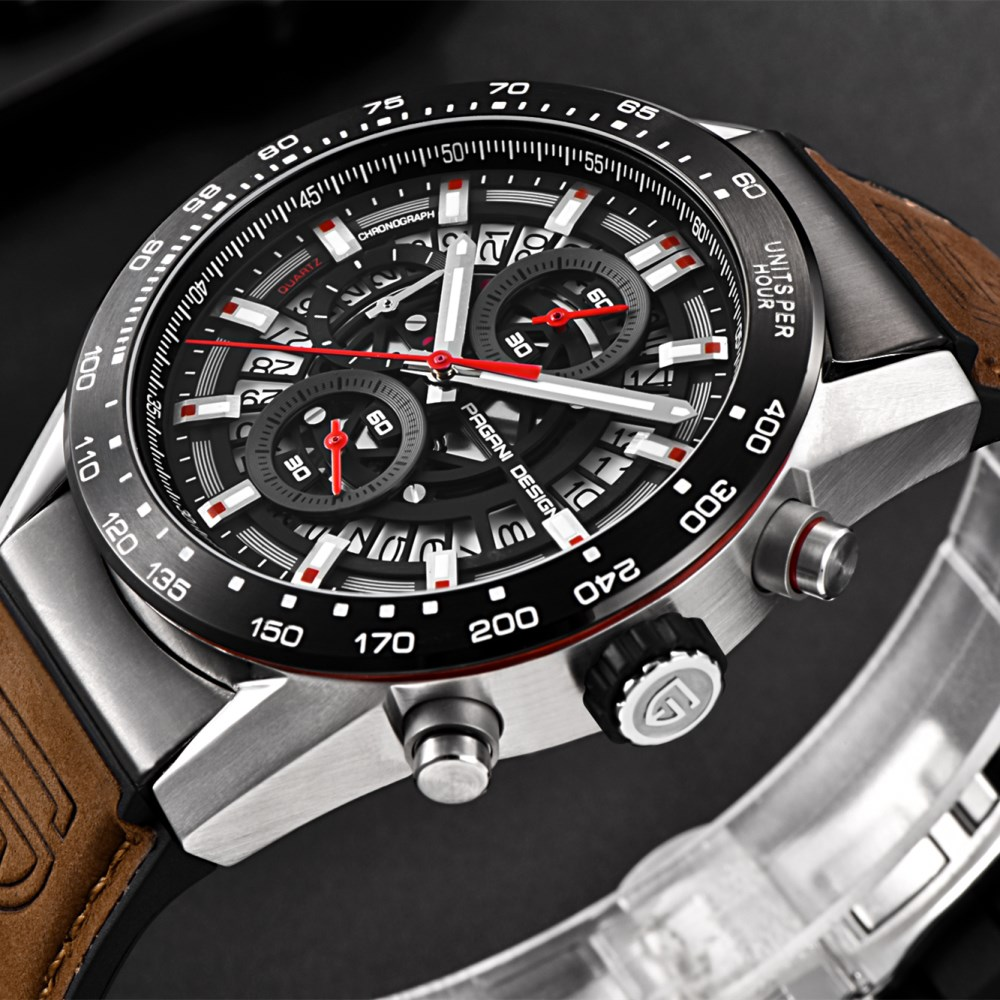 PAGANI DESIGN 2018 NEW Men skeleton quartz watch chronograph sports leather waterproof watch fashion Men clock relogio masculino