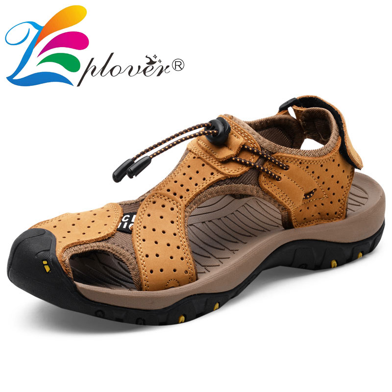 2018 New Men Sandals Summer Genuine Leather Beach Sandals Men Shoes Fashion Soft Leather Casual Flats Man Slipers Shoes genuine leather mens casual sapatos shoes cross straps male runway sandals roman summer shoes flats 2018 man fashion leather