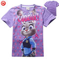 2016 Summer Cartoon T-Shirt Children Clothing Girls zootopia T Shirts Girl Short Sleeve Cotton t-shirts for Kids vetement garcon