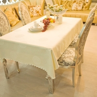 European Creamy White Rich Flower Rectangle Square Tablecloths Hotel Dining Small Table Cloths For Rectangular Tables