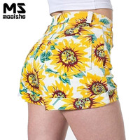 Mooishe Summer Vintage Women Shorts Sunflower Printing Slim Hight Waist Female Loves Shorts Jean