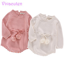 Autumn Child Knitted Rompers Sweater Child Lady Lengthy-sleeve Knitted Overalls Toddler Lady Princess Cotton Garments Child Lady Romper