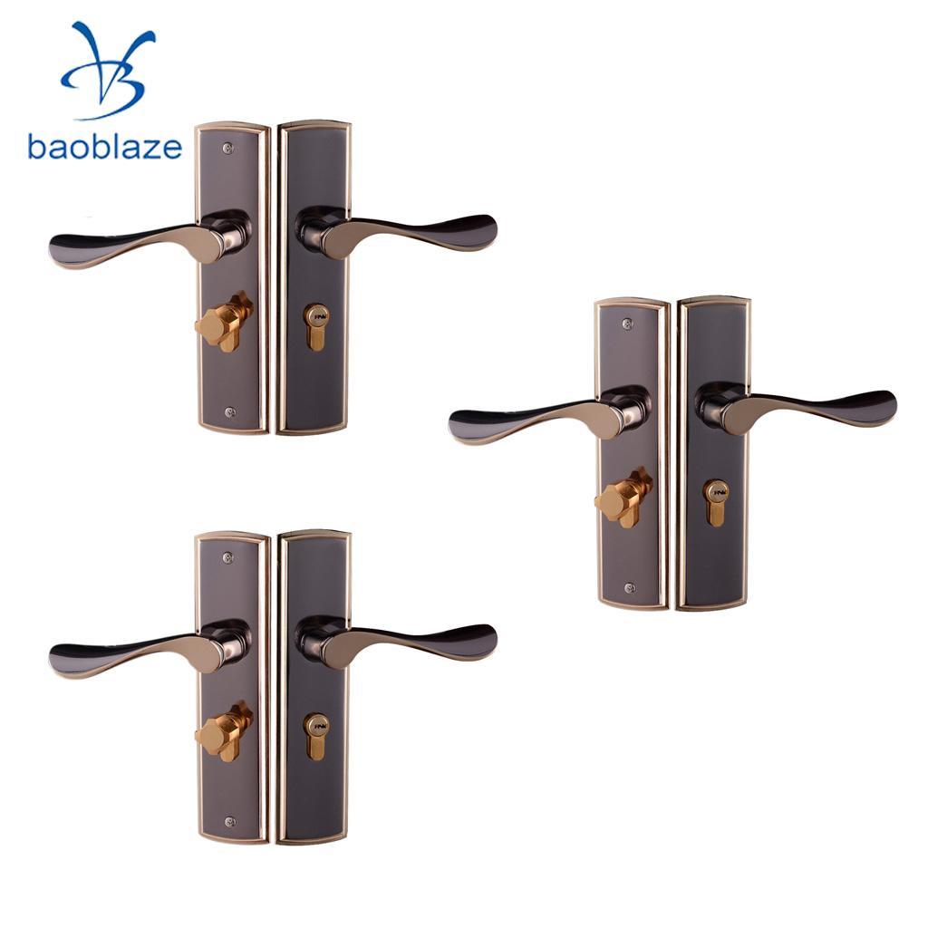 3pcs Aluminum Alloy Lever Lock Door Handle Set POLISHED CHROME Lockset  Latch Front Back Internal Door Handle Lock