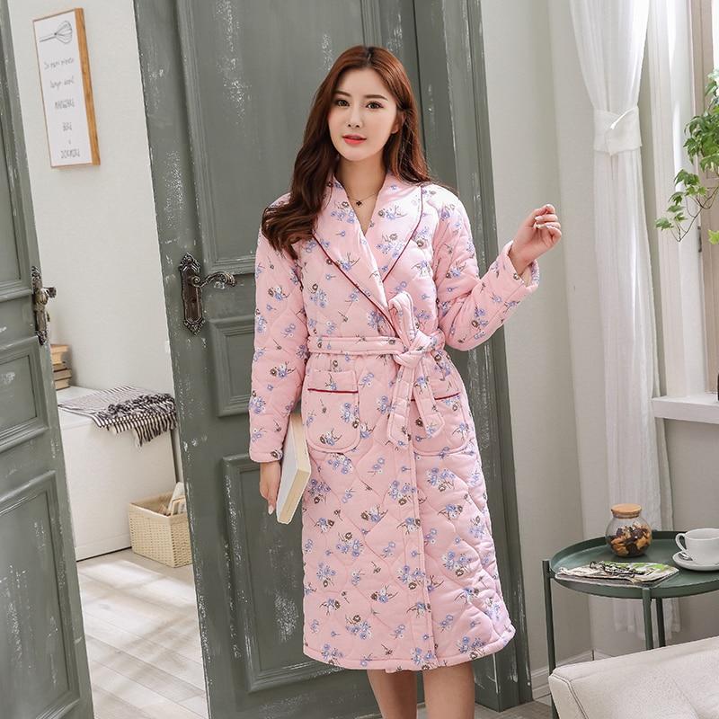 J Q Female Robes Peignoir Femme Badjas Lingerie Robes Plus Size Female Warm Home Robe Dressing