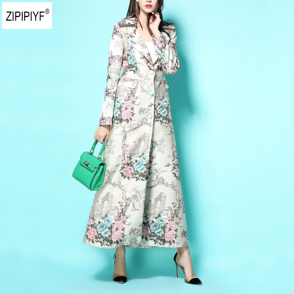 Outerwear Long-Coats Trench Vintage Spring Embroidery Jacquard Single-Breasted Women