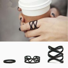 2017 black Punk style Stacking midi Finger Knuckle rings 3pcs/lot Ring Set for women Jewelry(China)