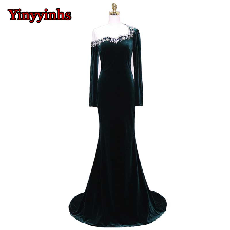 Yinyyinhs Robe De Soiree Noble Velvet Evening Dresses With Long