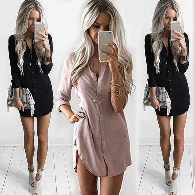 Womens Long Sleeve Shirt Casual Blouse Loose Summer Fashion Cotton Tops Shirt 4