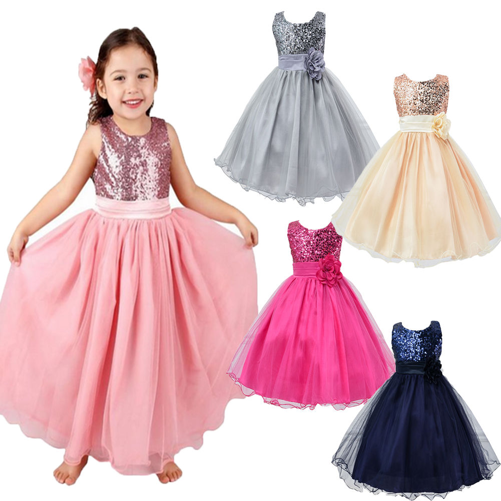 2016 New Summer Wedding Party Girls Dress Princess Baby Clothes Formal Children Toddler Baby ...