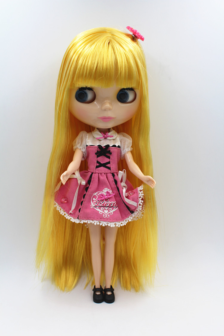 Blygirl Doll Yellow fringe hair Blyth body Doll Fashion can change makeup