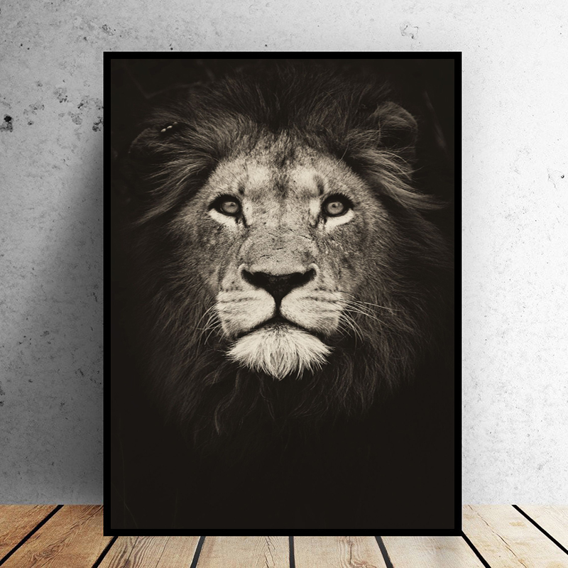 SELFLESSLY Black Animal Painting Lion Wall Art Posters Print Lion Animated Canvas Pictures For Living Room Decor Free Shipping
