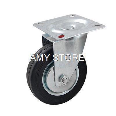 4 Black Rubber Wheel Swivel Roller Caster For Trolley