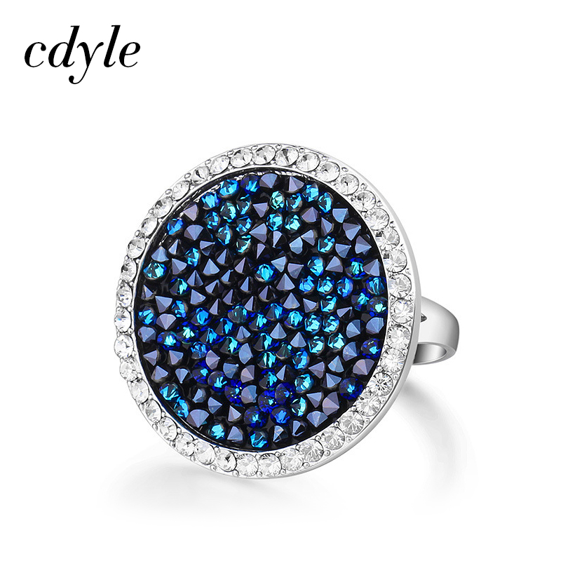 Cdyle Crystals from Swarovski Luxury Ring Austrian Rhinestone Fashion Romantic Anniversary Engagement Women Jewelry Blue Wedding charming embellished blue rhinestone wedding ring