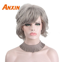 Anxin Short Body Wave Wig Silver White For Women Fancy Dress Costume And Salon Party Cosplay Wig