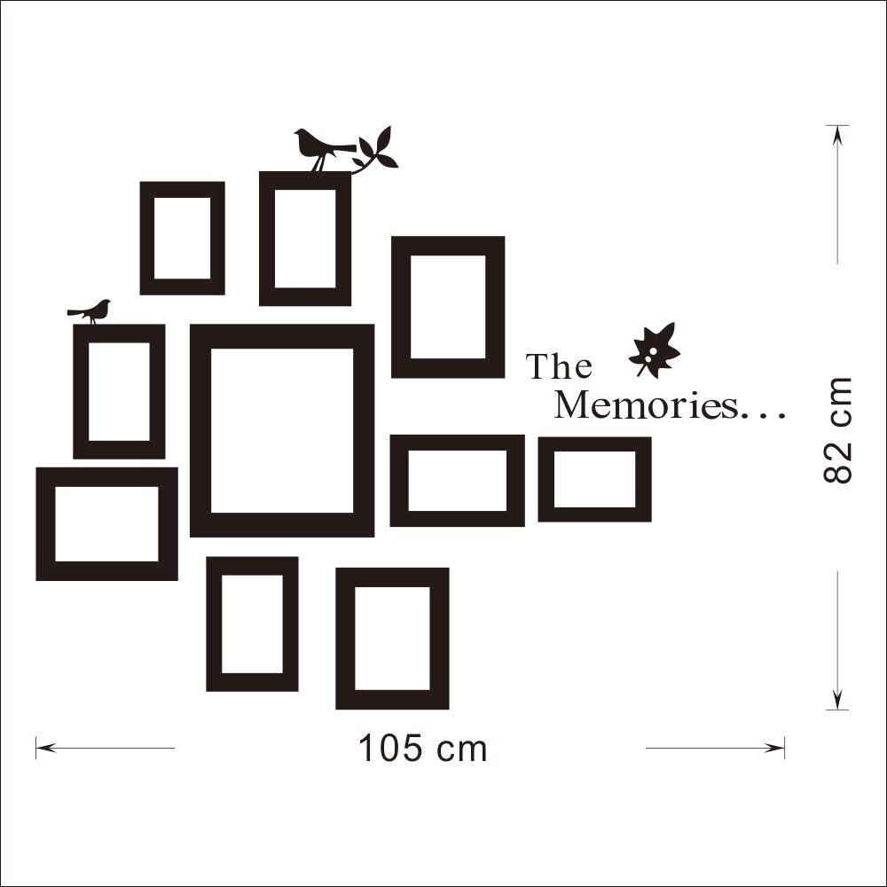 10 Pictures Photo Frame Set Wall Mural Black Wedding Art Frames ...