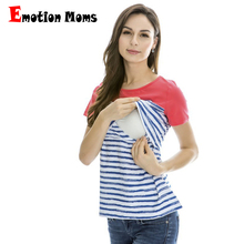 2015 Hot wholesale! New Striped Patchwork Short Sleeve Maternity tops Breastfeeding Clothes Nursing Tops