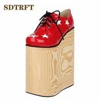 SDTRFT: 34-44 Crossdresser/Cosplay lolita Unique Ronda Dedo Del Pie zapatos de las mujeres 22 cm ultra plataforma de los tacones altos Goth punk bombas cuñas
