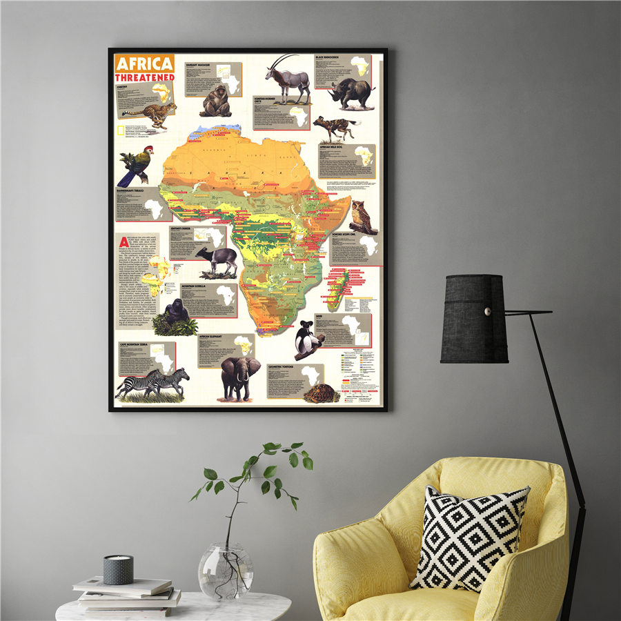 Africa Threatened Animal Map Detailed Introduction Diagram Grand Wall Art Sticker Print Decor For Home Hotel Cafe Bar Pub