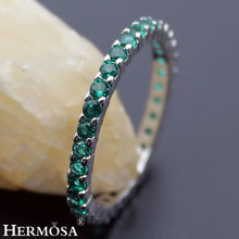Big Promotion Round Green Tourmaline Party Rings For Women Hermosa New 925 Sterling Silver Bands Jewelry Ring Size 7# 8#