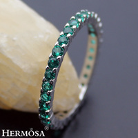 Big Promotion Round Green Tourmaline Party Rings For Women Hermosa New 925 Sterling Silver Bands Jewelry