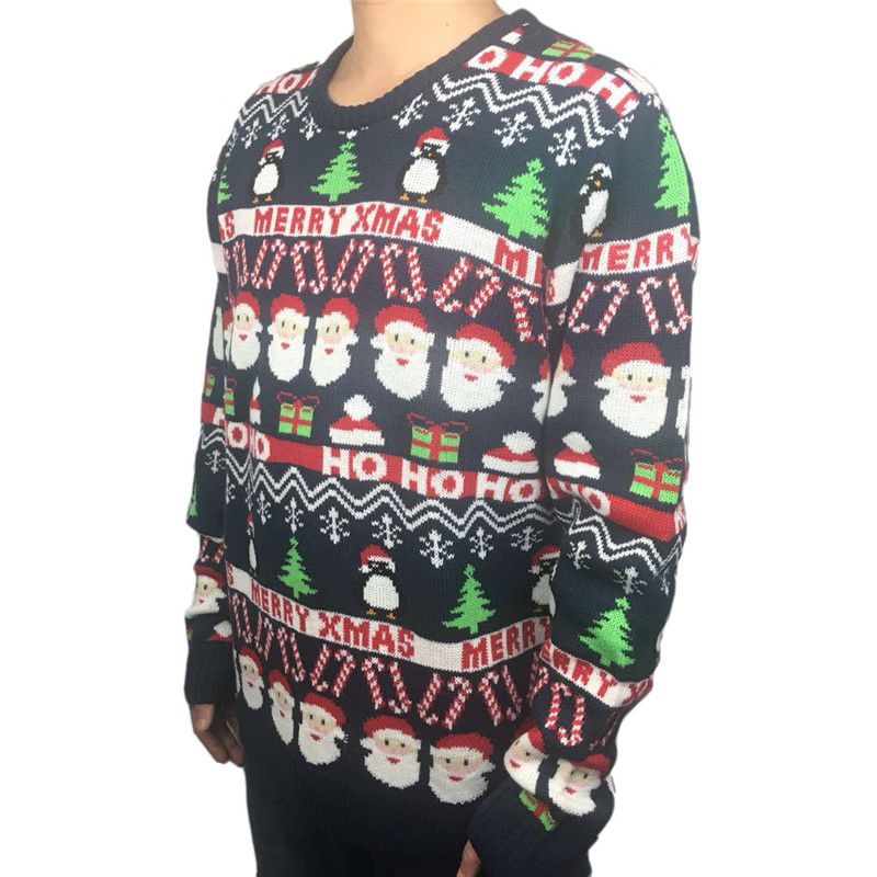 Funny Knitted Ugly Christmas Sweaters for Men and Women Cute Santa Claus Penguin Pattern Ugly Xmas Pullover Jumper Oversized 3