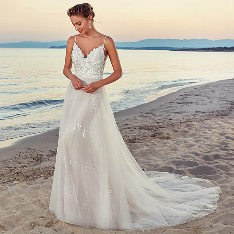 Eightree 2019 Sexy Weddding Dress Spaghetti Straps A Line Bridal Gowns Vintage Lace Beach Sleeveless Wedding Gowns De Mariage