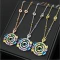 Collar de oro de oro de alta calidad versión completa completa CZ collar de diamantes CZ diamond stone pastel señora Collar Del Envío libre