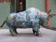 "SCY 12""Chinese Copper handwork Made cloisonne enamel abstract wrestle bull Ox Statue(China)"