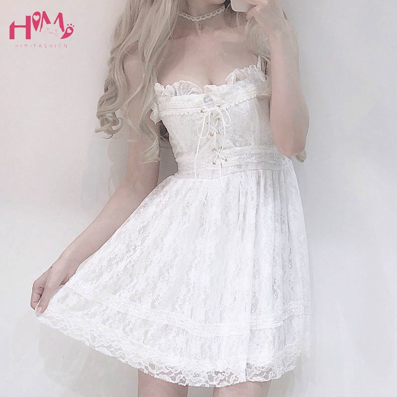 Japanese Summer Women <font><b>Sexy</b></font> White <font><b>Lace</b></font> Spaghetti Strap <font><b>Dress</b></font> High Waist <font><b>Hollow</b></font> Out Cross Bandage <font><b>Backless</b></font> Mini <font><b>Dress</b></font> Evening Club image