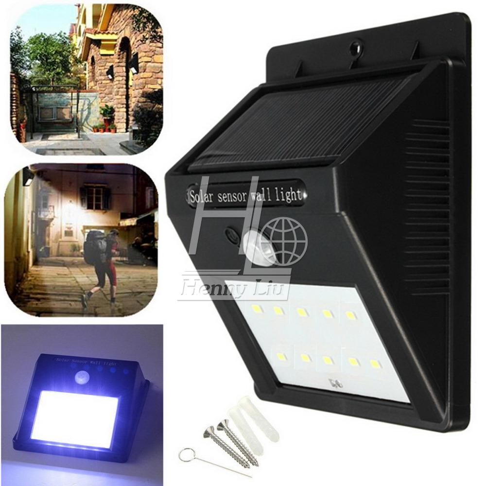 10 LED Solar font b Light b font Auto Motion Sensor Outdoor Waterproof Garden Lamps Pathway