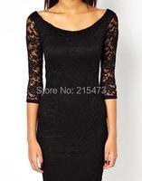 платье кружево три четверти осень, женщина модных темпы длиной до колен черный и синий карандаш платья