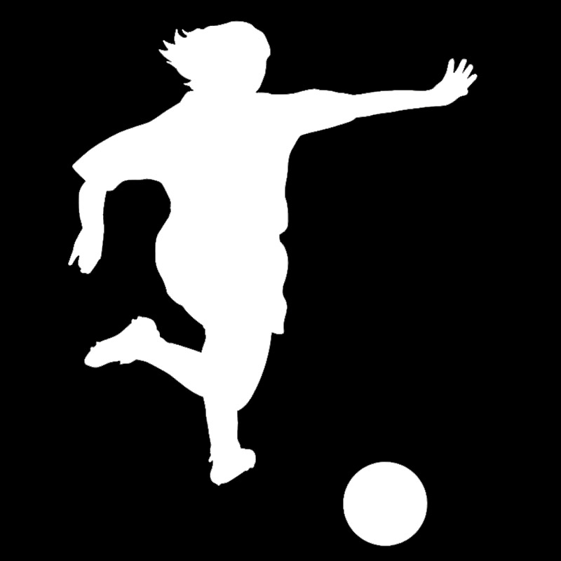 Woman Soccer Player Kicking The Ball Of Silhouette Car