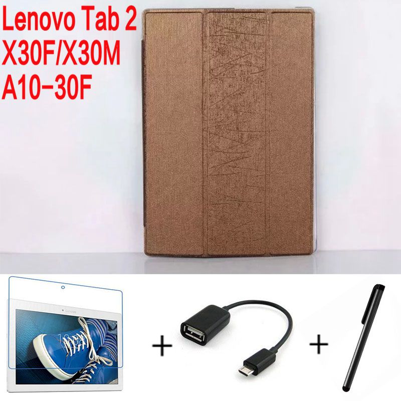 4 in 1 Top Quality Stand Leather Cover for Lenovo Tab 2 X30 X30F X30M A10-30F 10.1 inch Tablet Case+ Screen Protector+ OTG+ Pen