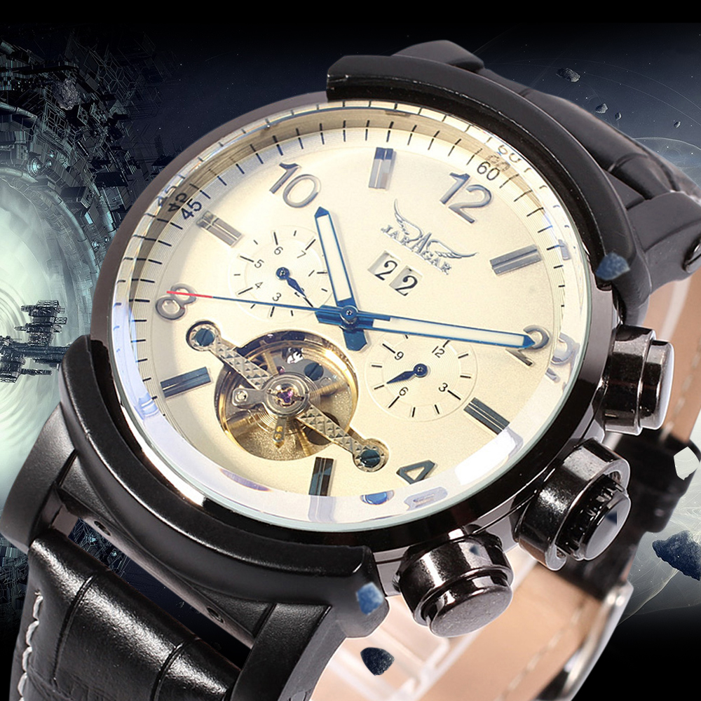 JARGAR Automatic Men Watch Best Gift for Man Leather Strap Mechanical Wristwatches Whit Gift Box best for watch gift box classical mens