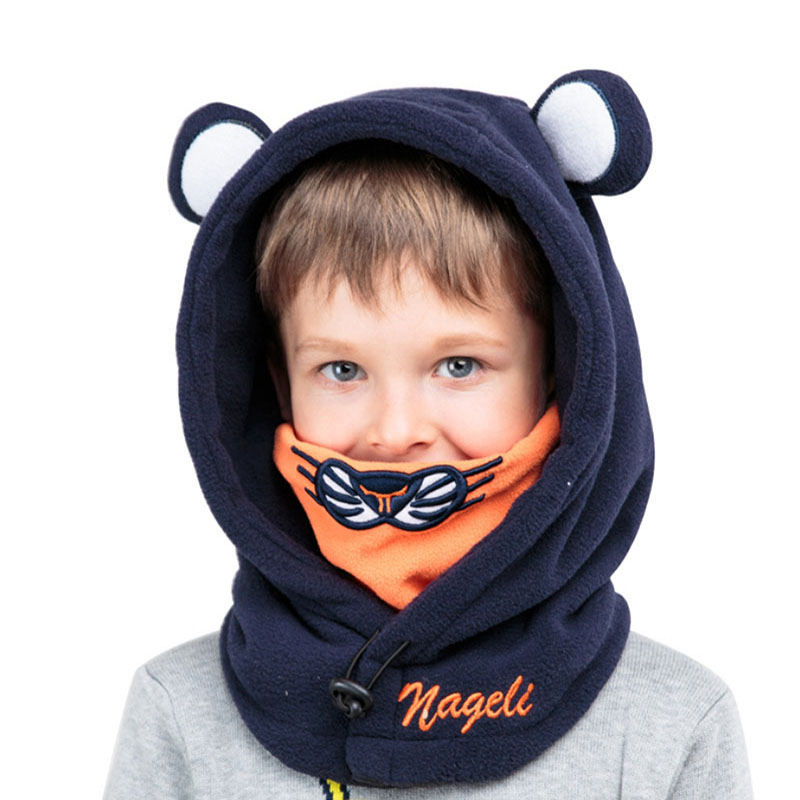 1-10y Winter Outdoor Soft Neck Warmer Fleece Face Masks Hats For Baby Boys Girls Shawl Hooded Cowl Beanie Snowboard Bicycle