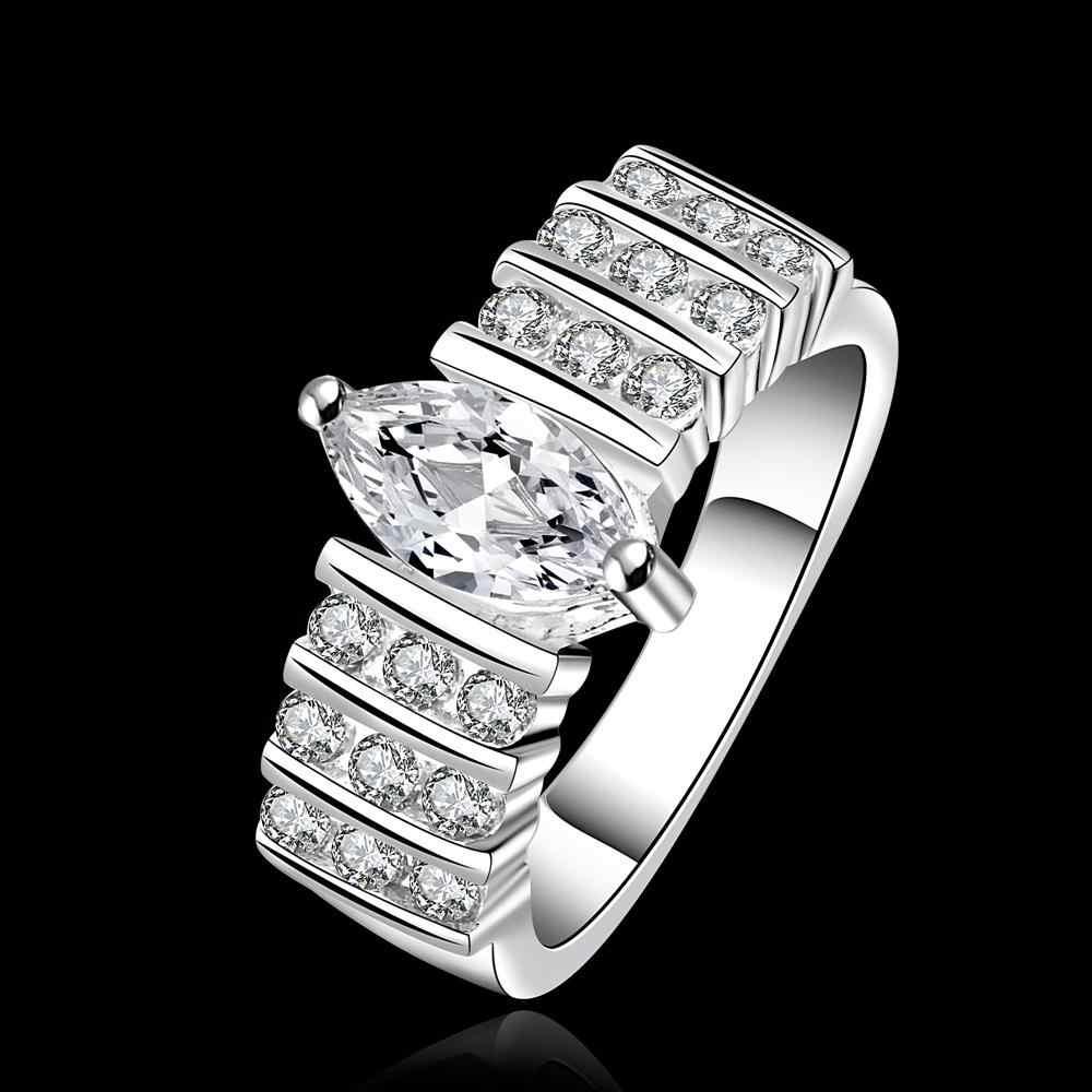 Trzy rzędy cyrkon pierścień 925 Sterling Silver Rings dla kobiet biżuteria biżuteria Anel Anillos Aneis Bague Anelli Anillo miłość prezent