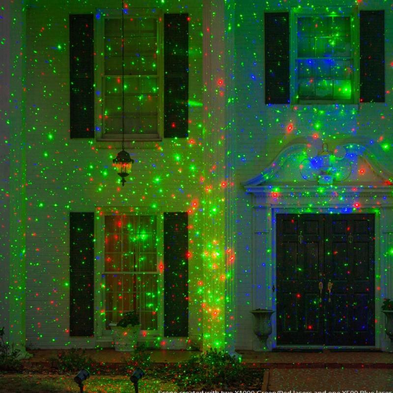 Christmas Laser Projector Show Light Outdoor Red Green LED Stage Spotlight Xmas Lawn Garden Sky Laser Landscape Lamp Lighting