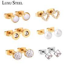 LUXUSTEEL Stainless Steel Push Back 6pairs/Box Earring Set Cubic Zirconia Anti-allergy Earring