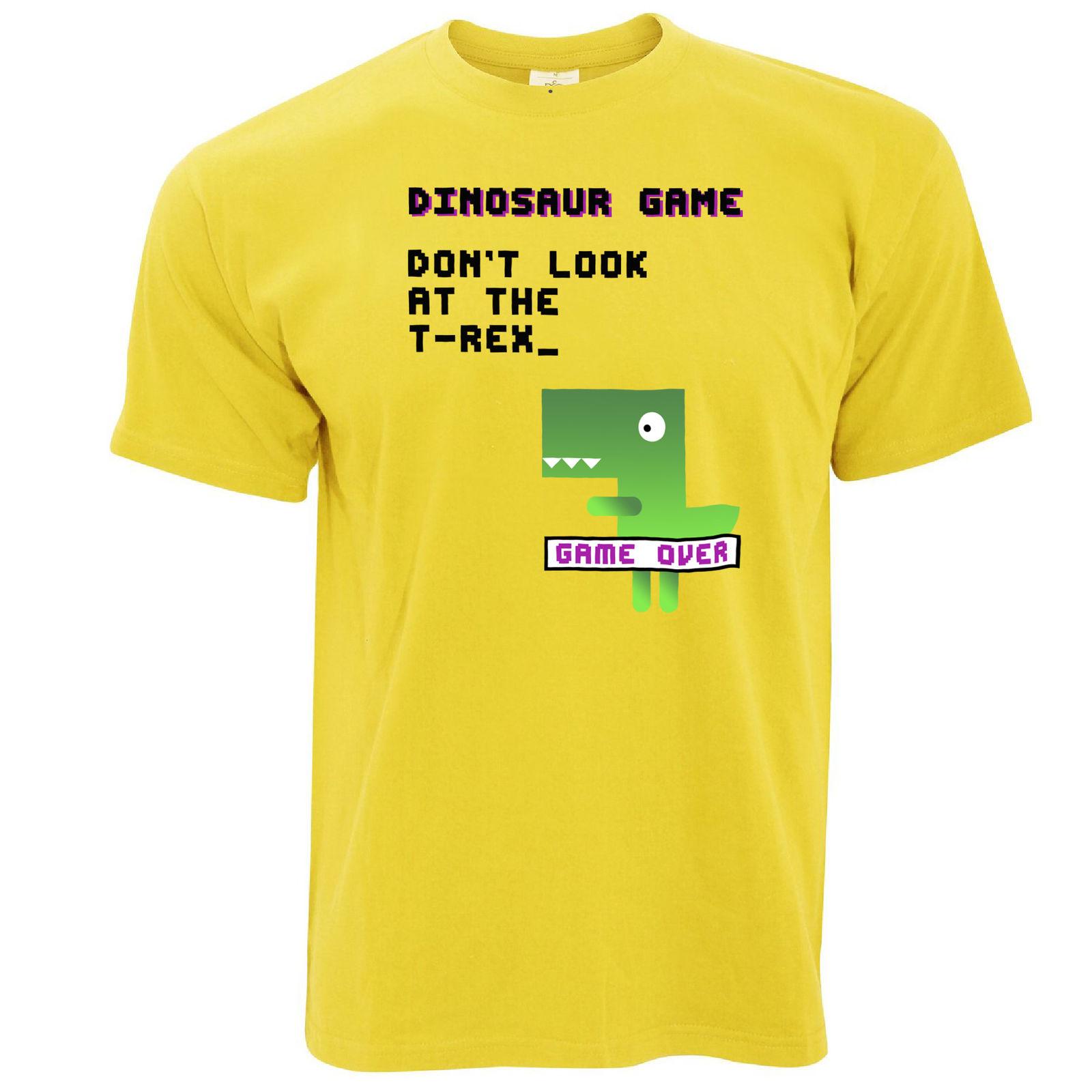 Динозавр T Rex игры 80 s консоли визуальный шутка печать логотипа Дизайн футболка мужска ...