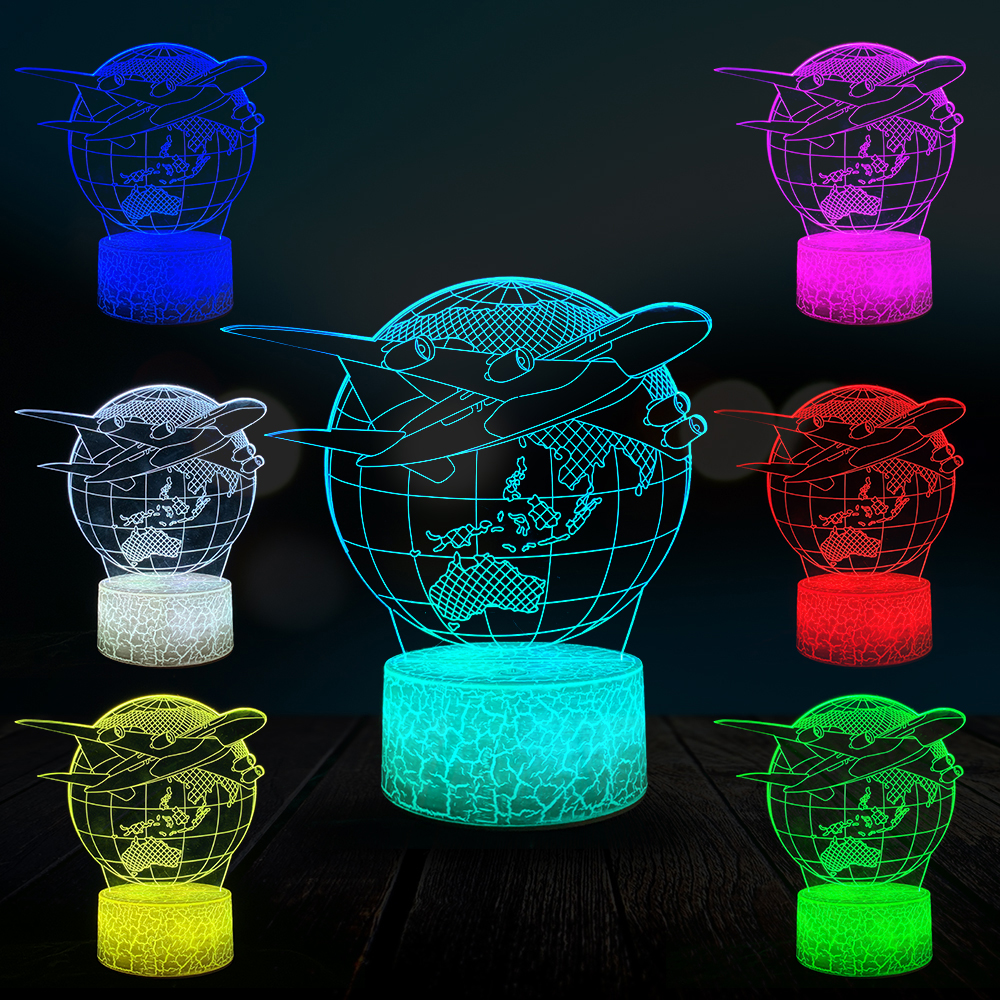 Airplane Earth 3D Lamp Kid LED Night Light Student Home Bedside Decor Lava Lighting USB Multicolor Aviation Universe Child Gift image