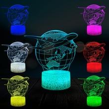 Airplane Earth 3D Lamp Kid LED Night Light Student Home Bedside Decor Lava Lighting USB Multicolor